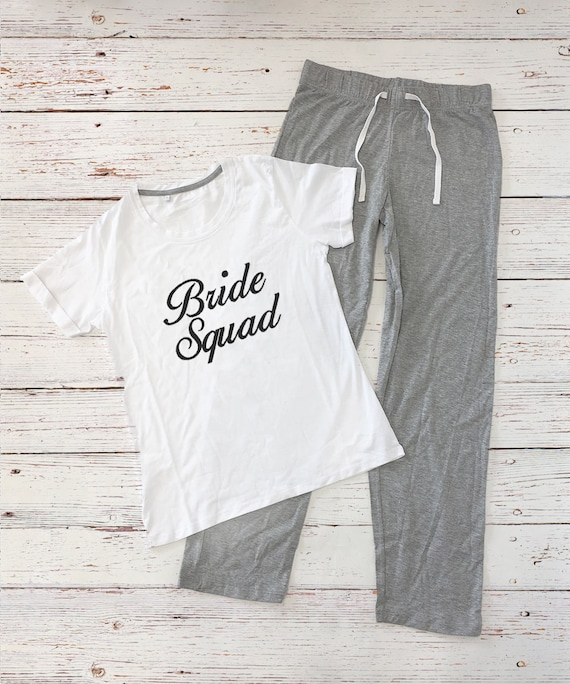 Personalised Bridal Party Long Pyjamas Set Bride Squad Etsy