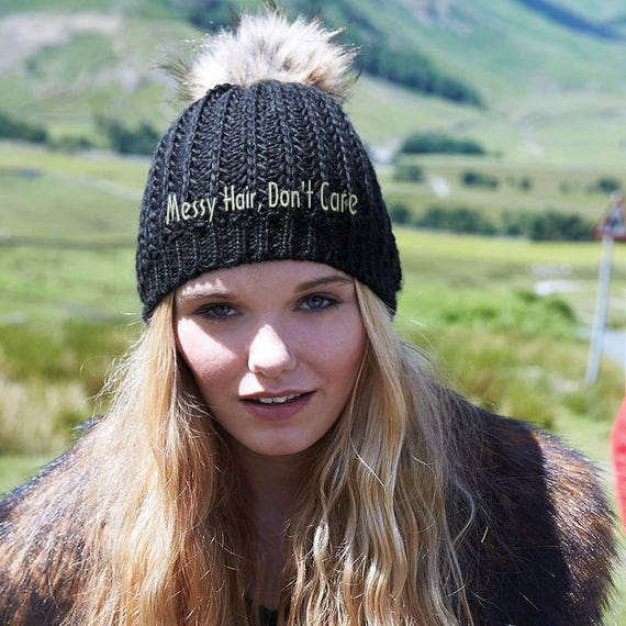 c33cf4c8c5b29 Messy Hair Don t Care Beanie Embroidered Hat Fur Pom Pom