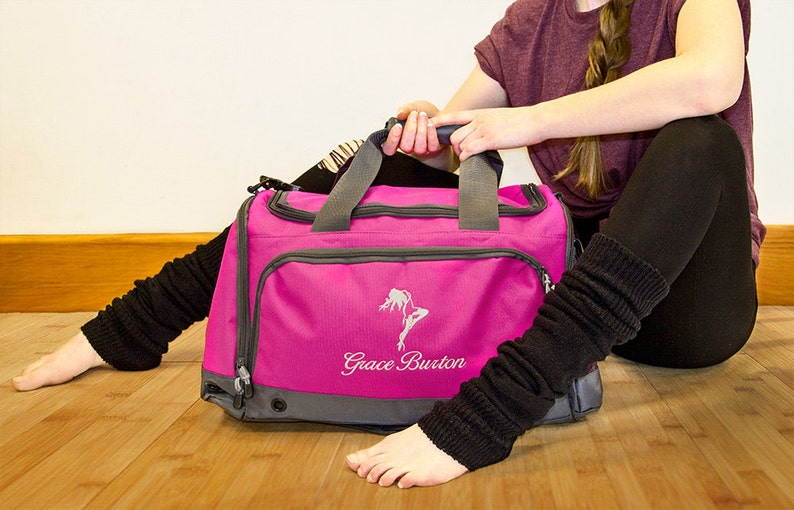 48468a90e Personalised Children's Dance Bag Holdall; Fuchsia / Black / Blue / Red,  Embroidered