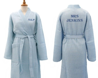 Personalised Dark Blue Waffle Dressing Gown, Cotton Anniversary Gifts for Him or Her, Grandad or Grandma, Personalised Bathrobe