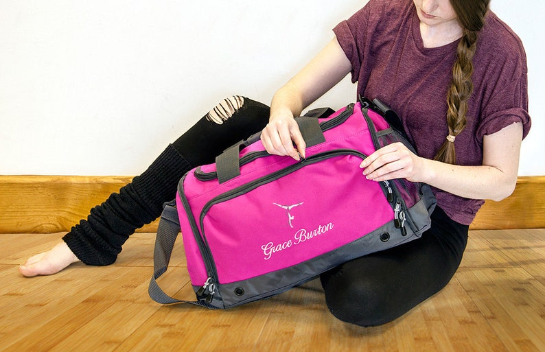 73aa93e03 Personalised Embroidered Gymnastics Bag Holdall; Fuchsia / Black / Blue /  Red