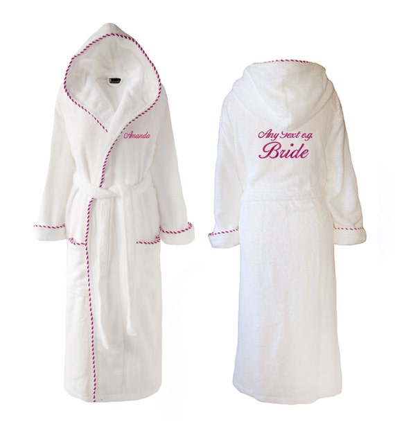 Personalised Wedding Towelling Dressing Gown Hooded Towelling Etsy