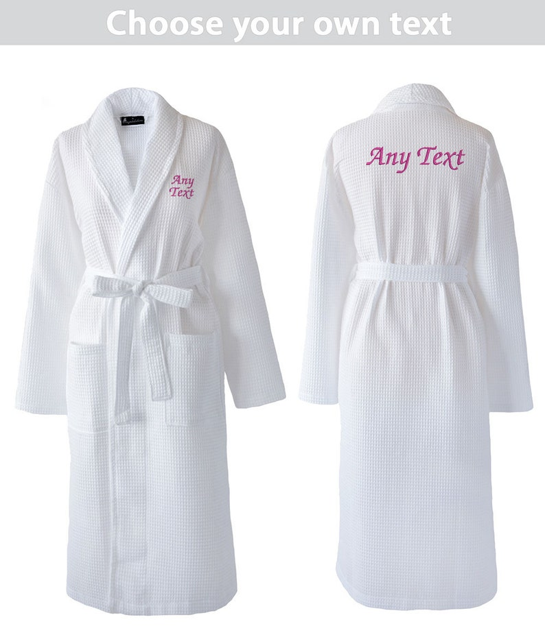 Hairdressers Personalised Getting Ready Dressing Gown Waffle Gown Great for Hen Parties Spa Days Choose Any Text