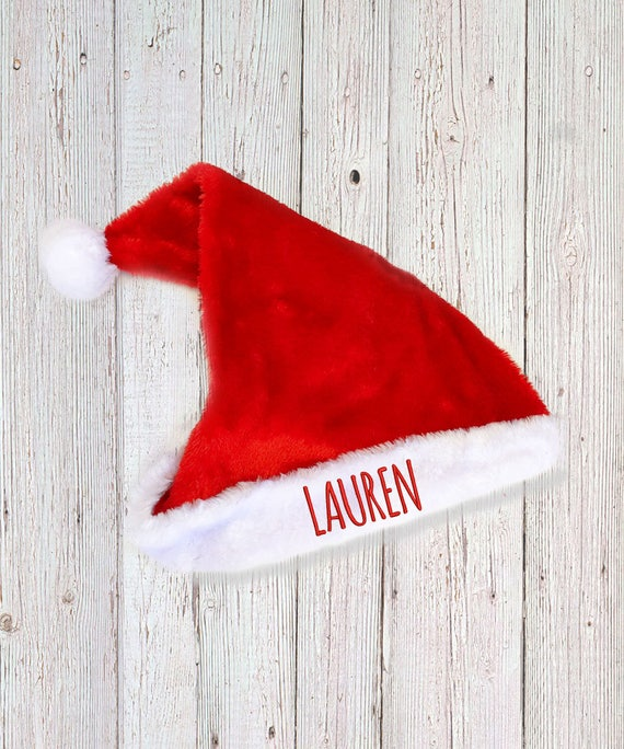 749ebbbee5 Personalised Plush Santa Hat Red Father Christmas Hat for