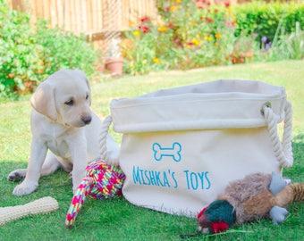 Personalised Dog Toy Basket, Dog Toys Storage Bag, Dog Toy Bin, Dog Toys Organizer, Dog Grooming Bag, Pet Storage, Gift for Dog Lovers