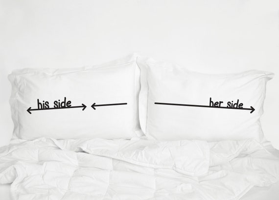 Her Side His Side Lenzuola.Couple Pillow Cases With Hemstitch Edge Cotton Anniversary Gift Wedding Gift For Couples Love Pillowcases His Side Her Side Pillow