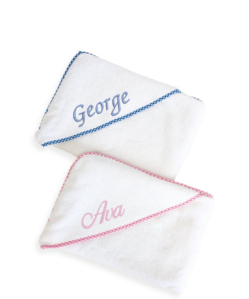 New Baby Gift in Baby Gingham Pink or Blue with embroidered Baby Initials Personalised Monogrammed Baby Towel