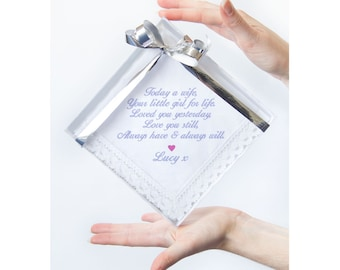 Personalised Mother of the Bride Wedding Handkerchief Wedding Favour Gift Keepsake for Mum, ANY TEXT