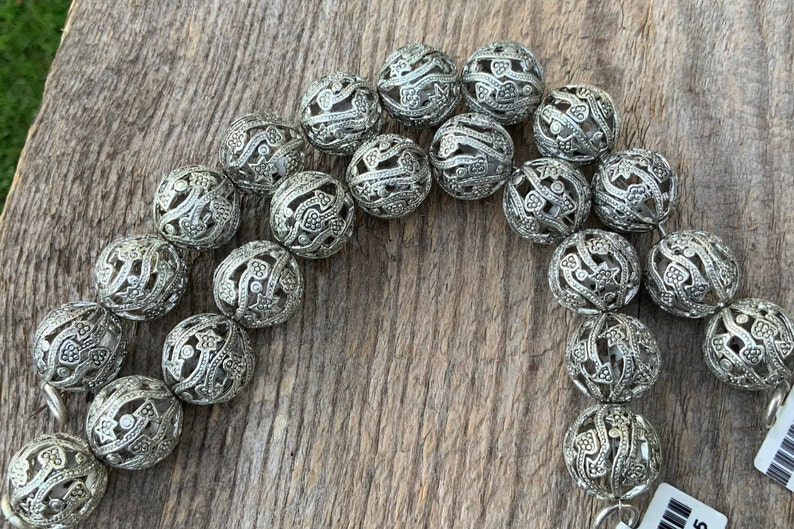Decorative Round Hollow 11 pc Silver Plated Copper Bead 18mm