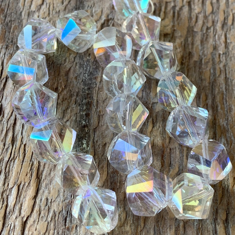 9mm AB Crystal Bead Strand Faceted Helix 19pcs