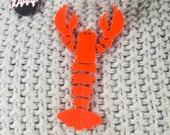Lobster love, lobster necklace, crustation necklace, shrimp necklace, fish necklace, handmade necklace, perspex necklace, red necklace, cool