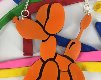 Balloon dog, balloon animals, dog necklace, blow up dog, dog necklace, ballon necklace, orange necklace, perspex necklace, plastic necklace