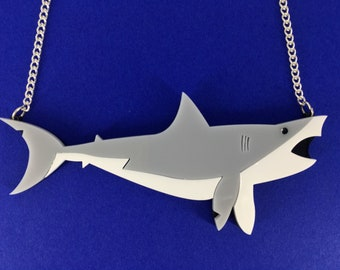 Jaws, shark necklace, perspex necklace, acrylic necklace, perspex jewellery, perspex jewelry, handmade necklace, jewellery, jewelry