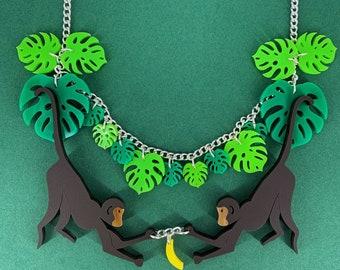 Monkey necklace, plastic jewellery, handmade jewellery, perspex jewellery, jungle jewellery, acrylic jewellery, plastic jewelry, animal