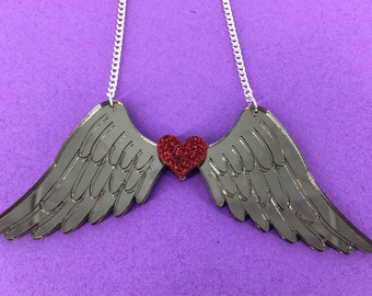 Wing necklace, angel wings, perspex necklace, perspex jewellery, perspex jewelry, angel necklace, handmade necklace,