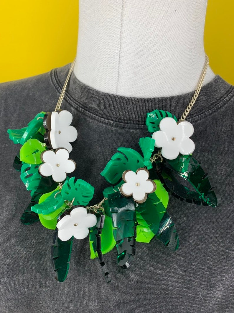 Summer Necklace Tropical Necklace Acrylic Necklace Jungle Necklace Flower Necklace acrylic necklace Leaf Necklace Flower Jewellery