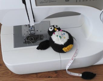 Hand knitted Black and White Penguin Pin Cushion/Covered Retractable Tape Measure, #OOAK