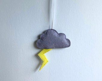 Hand Stitched Grey Felt Cloud with Yellow Lightning Bolt Wall Hanging, Ideal for Nursery, Kids Bedroom, Photo Prop, Baby Shower gift