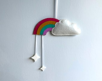 Hand Stitched White Felt Cloud with Rainbow & Sparkles Wall Hanging, Ideal for Nursery, Kids Bedroom, Photo Prop, Baby Shower gift