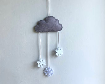 Hand Stitched Grey Felt Cloud with White Snowflakes Wall Hanging, Ideal for Nursery, Kids Bedroom, Photo Prop, Baby Shower gift