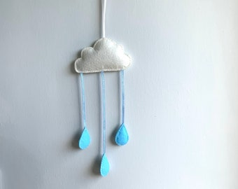 Hand Stitched White Felt Cloud with Blue Raindrops Wall Hanging, Ideal for Nursery, Kids Bedroom, Photo Prop, Baby Shower gift