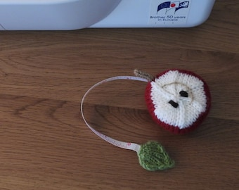 Hand knitted Red Apple Pin Cushion/Covered Retractable Tape Measure, #OOAK