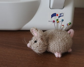 Hand knitted Mouse Pin Cushion Critter, Desk Toy, #OOAK