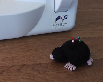 Hand knitted Black Mole Pin Cushion Critter, Desk Toy, #OOAK