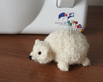 Hand knitted Polar Bear cub Pin Cushion Critter, Desk Toy, #OOAK