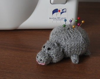 Hand knitted Hippo Pin Cushion Critter, Desk Toy, #OOAK