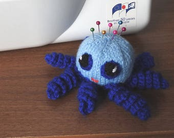 Hand knitted Octopus Pin Cushion Critter, Desk Toy, #OOAK