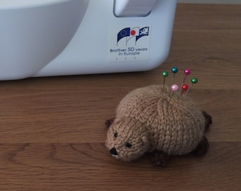 Hand knitted Beaver Pin Cushion Critter, Desk Toy, #OOAK