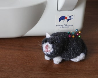 Hand knitted Cat Pin Cushion Critter, Desk Toy, #OOAK