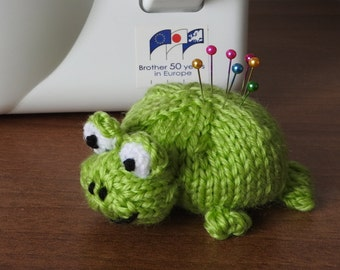 Hand knitted Green Frog Pin Cushion Critter, Desk Toy, #OOAK