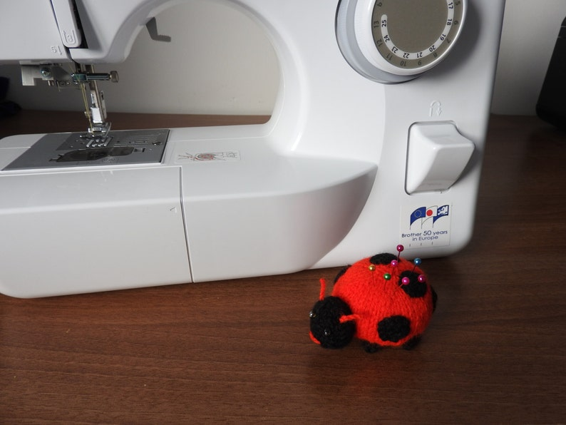Hand knitted Ladybird Pin Cushion Critter Desk Toy OOAK image 0