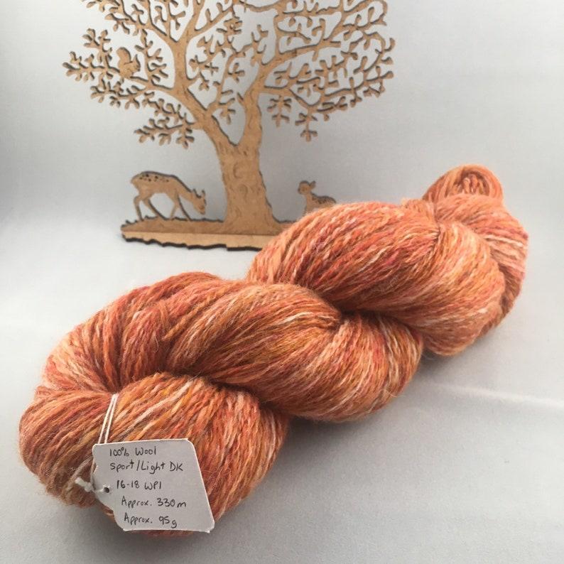 Tangerine Sunrise Hand Spun yarn sport weight/light DK 100% image 0