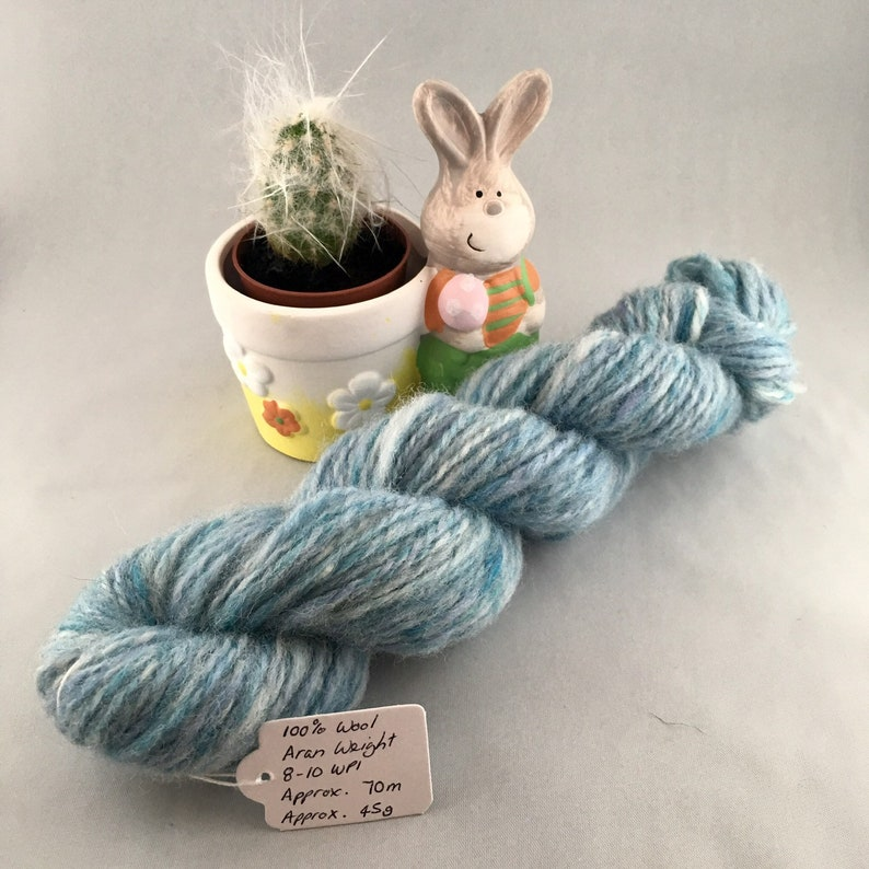 Sky Blue Hand Spun 100% Wool Aran Weight Thick and Thin image 0