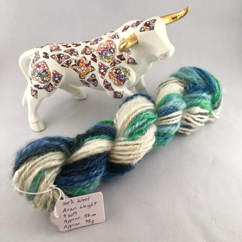 Blue Sea and White Waves Hand Spun 100% Wool Aran Weight image 0