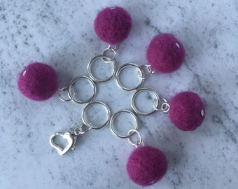 Snag free Stitch Markers, Pink, Magenta, Set of 6, Heart Locking Stitch Marker, on Safety Pin, for Knitting.