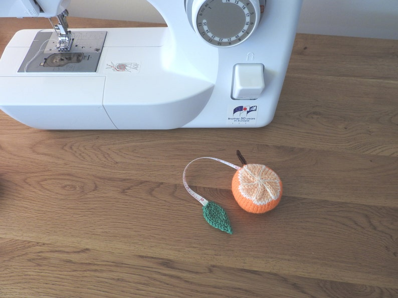 Hand knitted Orange Pin Cushion/Covered Retractable Tape image 0