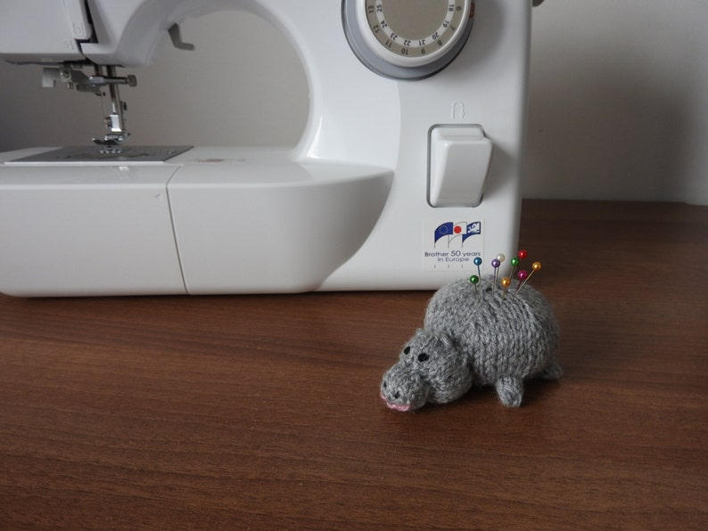 Hand knitted Hippo Pin Cushion Critter Desk Toy OOAK image 0