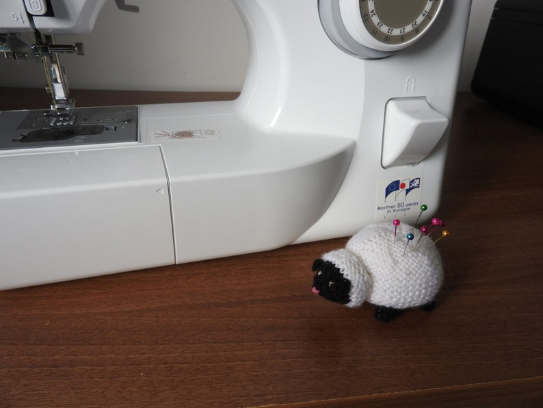 Hand knitted Black Faced Sheep Pin Cushion Critter Desk Toy image 0