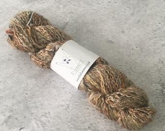 Rust Gold Yellow Brown, Hand Spun, Wool/Silk/Metallic Thread, Worsted Weight, Art Yarn, 41g, 132m
