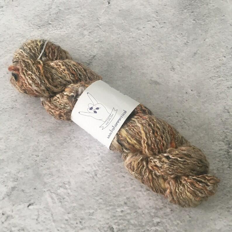 Rust Gold Yellow Brown Hand Spun Wool/Silk/Metallic Thread image 0