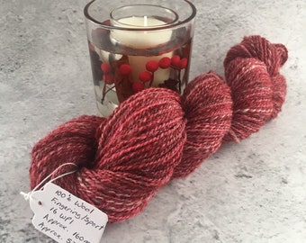 Cranberry Multi coloured, Hand Spun, 100% Wool, DK Weight Yarn, 53g, 160m