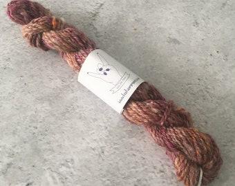 Pink Orange Brown, Hand Spun, Wool, DK Weight, Yarn, Mini Skein, 13g, 29m