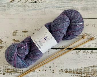 Purple and Pink, Hand Spun, Wool and Silk, Sport Weight Yarn, 104g, 513m