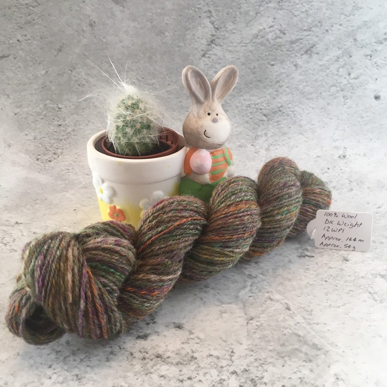 Multi coloured Hand Spun 100% Wool DK Weight Yarn 54g image 0