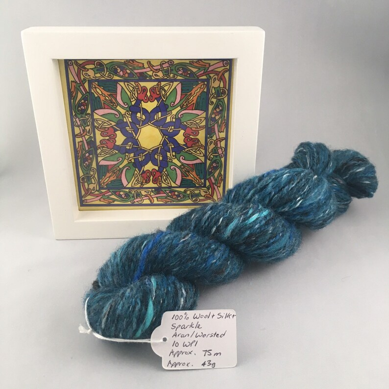 Teal Handspun 100% Wool with Silk and Sparkle 2 ply image 0