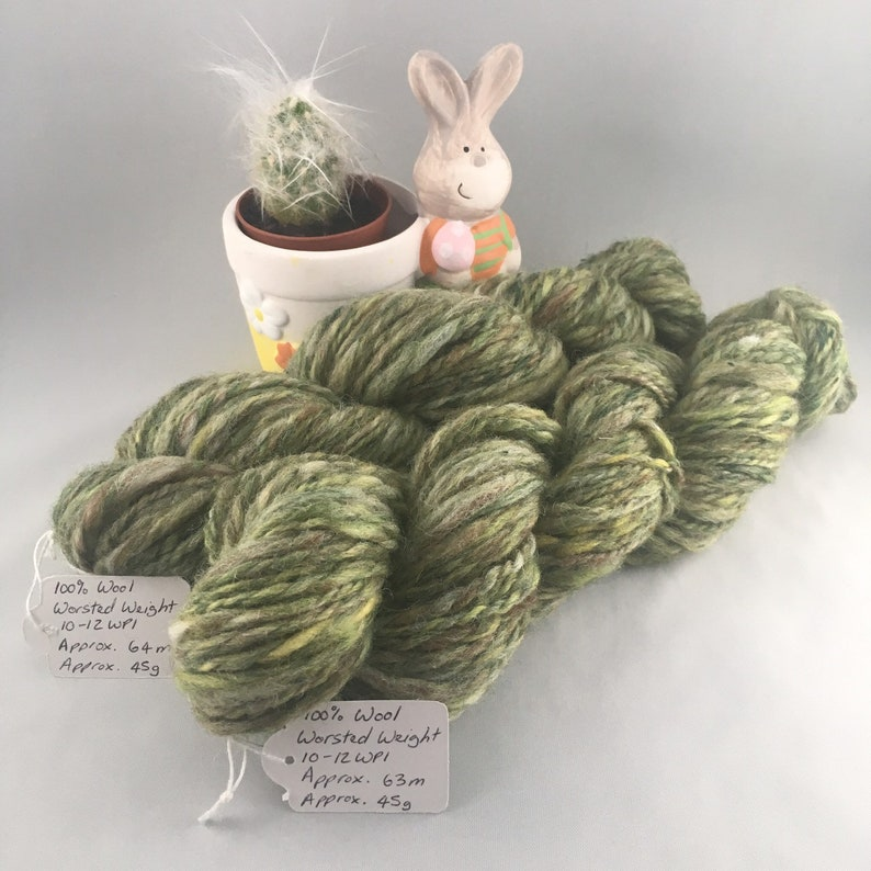 Crocodile Green Hand Spun 100% Wool Worsted Weight Thick image 0